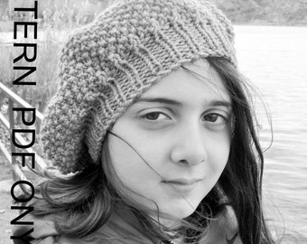Knit hat pattern- Instant download  Hat Knitting PATTERN PDF -Seed Stitche Beret  Pattern   DIY - Children  hat  Fall Autumn Winter Fashion