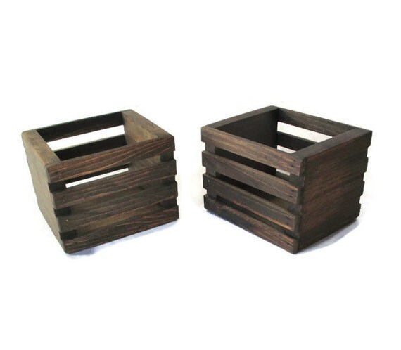 Small wood crates set of two centerpiece or planter