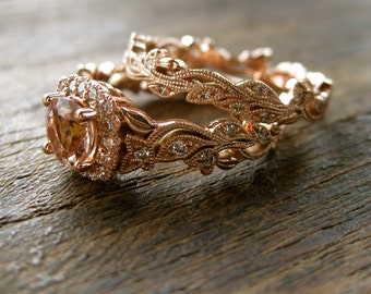 Morganite Engagement Ring & Matching Wedding Band in 14K Rose Gold with Diamonds in Flower Blossoms and Leafs on Vine Size 6