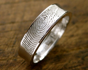 Cool Concave Finger Print Wedding Ring in 14K White Gold with Matte Finish and Glossy Edges Size 12