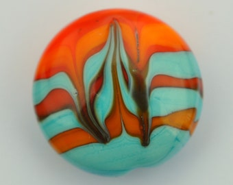 Orange and Turquoise Lentil Shaped Handmade Lampwork bead SRA