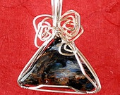 Wire wrapped Pietersite Triangle pendant, wire wrapped with Sterling Silver - P230