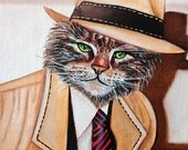 Custom Cat Portraits Cats in Clothes Original Oil Painting Small 6 x 8 Painting  Rick Tracy  by k Madison Moore