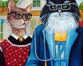 Custom Cat Portraits Cat Paintings Cats in Clothes Paintings American Gothic Original Art Oil Painting by k Madison Moore