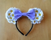 Floral Minnie Ears with Lilac Bow
