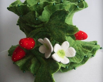 Strawberry Scarf Felted /STRAWBERRY FIELDS FOREVER/ Couture, Saint Patrick's Day, Craft Magazine Featured, Sale Scarf