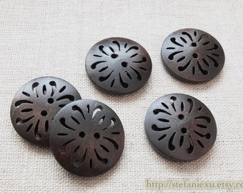 5PCS Wooden Buttons, Painted Color - Retro Big Pierced Flowers (5 in a set)