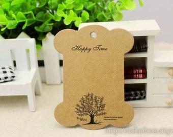 Kraft Cardboard Lace/Ribbon Organizer-Happy Time, Big Tree (5 in a set)