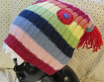 Monster Hat upcycled sweater bright stripes red eye fangs tassels eco friendly funky fun warm