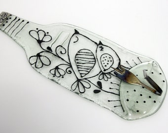 Birds  Wall Hook -  Fused Glass  Melted Recycled Wine Bottle- Fork Hook
