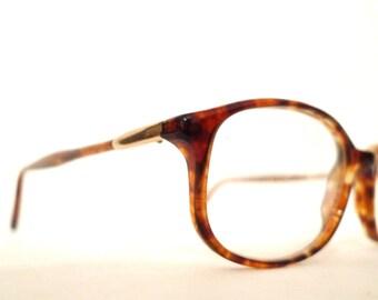 SALE Vintage NOS Luxottica Wayfarer type Eyeglasses/ Faux Tortoise Horn Rim Glasses FRame / Designer Sunglasses Italy