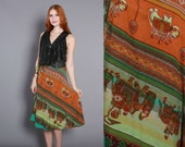 70s Boho WRAP SKIRT / 1970s Ethnic INDIA Cotton Elephant Print Midi, osfm