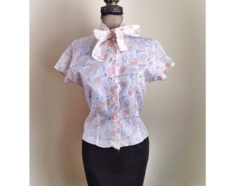 Vintage 1950s  1960s Pussy Bow Blouse Clock Print Square Buttons