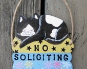 Cat No Soliciting Sign - Do Not Disturb Sign - Hand Painted Wood