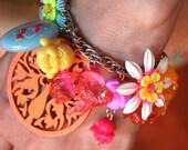 Buddha Charm Bracelet - Plastic Flower Bracelet - Plastic Flower Jewelry - Koi Fish Bracelet - Koi Fish Jewelry - Plastic Jewelry