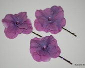 Whimsical Purple Flower Bobby Pins - Wedding Hair - Woodland Hair - Flower Girl - Woodland Bride - a touch of whimsy - Plum - Prom Hair