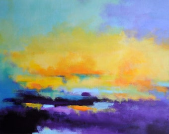 Abstract Painting Original Acrylic Painting Sunset Landscape 20x28""