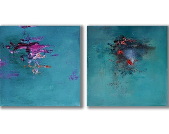 "Original Abstract Painting Diptych Set of Two Modern Art Pink Dark Turquoise 8""x16"""