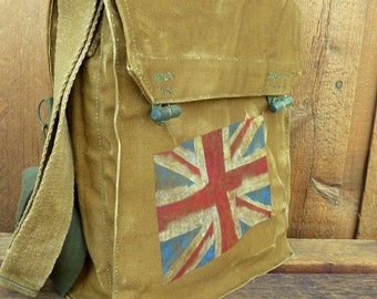 British Flag on Vintage Military Canvas Messenger Bag - Hand Painted