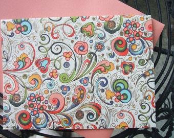 4 Bar Notecards - Bertini Swirls - Red - (Set of 10)