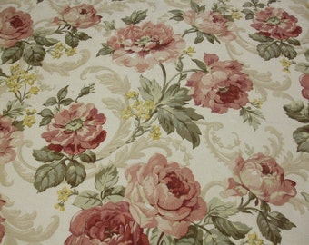 100% Cotton, Cabbage Roses, Drapery Fabric, Upholstery Fabric, Pillows, Cushions, Curtains