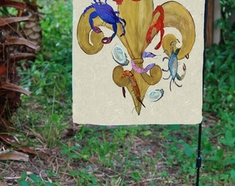 Cajun Fleur de lis Art Large yard flag from my art.
