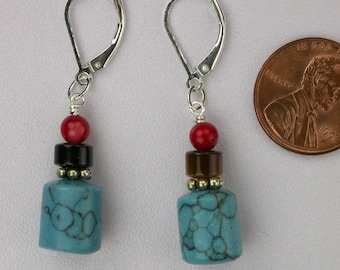 Turquoise, Tiger Eye, and Coral Earrings