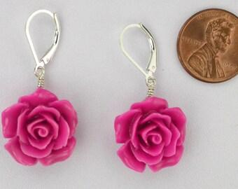 Carved Pink Rose Earrings