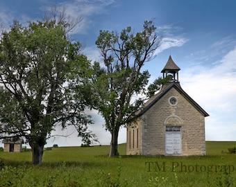 One Room Schoolhouse - Bichet School - 1800's - Schoolhouse -  Old School -1800's Schoolshouse - Kansas - Fine Art Photography