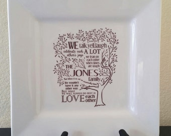 Family Tree Poem Platter Custom Personalized
