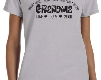Custom Grandma Shirts, Personalized With Names, Unique Mothers Day Gift, Birthday Gift Ideas, Grandma T-shirt Ideas, Available With Nana Too
