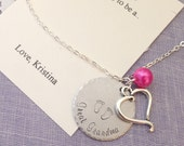 Great Grandmother, Great Grandma, pregnancy announcement necklace, surprise, handstamped. Comes with FREE personalized notecard.