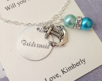 Anchor, ask Bridesmaid, Flower girl, Handstamped charm necklace. Other Color Pearl Available. FREE Notecard Jewelry Box.