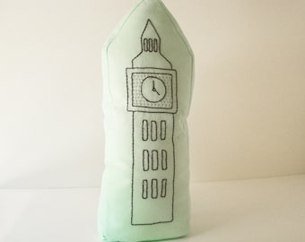 London  Big Ben Shaped Pillow - Soft Toy - Hand Embroidered