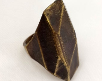 Edgy faceted metal ring in sterling silver or bronze
