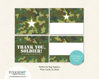 PRINTABLE - Army Party - Bag Toppers - Treat Bags - Place Cards - Food Labels