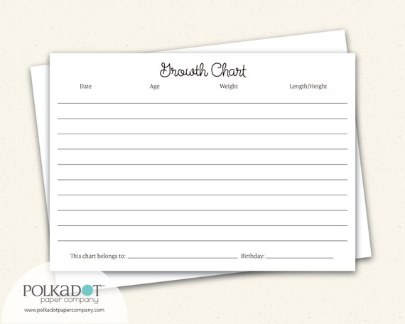 Growth Chart Baby Child Record Keepsake Card By The Speckled Duck