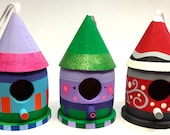 Mini Wood Birdhouse for indoor or outdoor use custom hand painted to meet your design and color choice