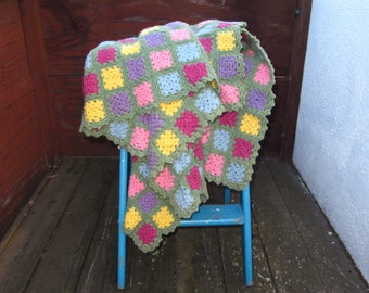 Vintage Granny Square Lambswool Afghan, Thick Felted Wool Granny Blanket, Cottage Chic Decor, Bright Pastel Colorful Wool Blanket 56 x 40