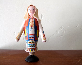 Vintage Hand Painted Folk Decor Yugoslavia Wood Wooden Lady