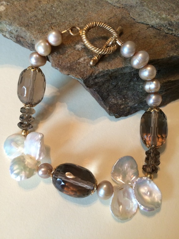 Fresh Water Pearl and Topaz Bracelet-The Dogwood