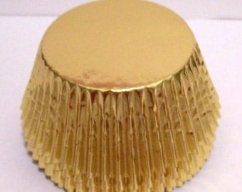 JUMBO Size 50 Gold Size Foil Cupcake Liners