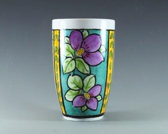 Handmade Porcelain Mug, Latte Coffee Mug, Turquoise, lavender and canary yellow, colorful floral, hand painted latte mug-SKU1412-2