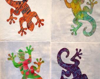 Gecko Appliqued Quilt Blocks, Lizard Appliqued Quilt Blocks