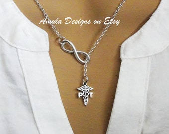 PT Physical Therapy Therapist Lariat Infinity Style Necklace