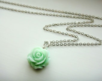 Sea Green Rose Cabochon Flower Necklace