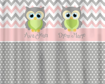 Custom Personalized Chevron & Dots Shower Curtain - Grey and Pink with Citrus accents - Owl Elements