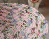 Pink Floral Coiled Fabric Basket - LARGE - Handmade by Me
