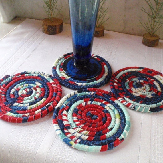 Nautical Colored Coiled Fabric Coasters Set of 4 Red White