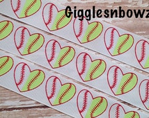 Grosgrain Ribbon- 5yd Baseball Softball Print 7/8 inch Grosgrain Ribbon- Diy Supplies- Hair Ribbon- Hair Bow Supplies